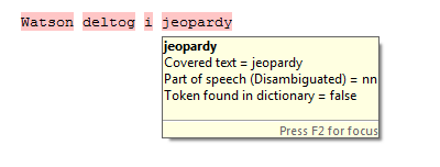 "Example when ICA uses NLP to analyse the string ""Watson deltog i jeopardy"""