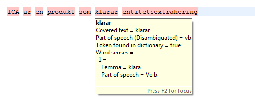 "Example when ICA uses NLP to analyse the string ""ICA är en produkt som klarar entitetsextrahering"""