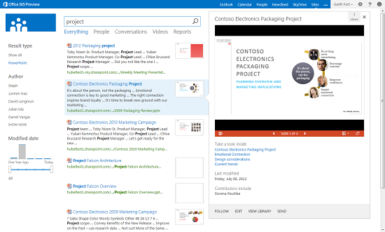 Screenshot from an Office Blogs post showing the hover panel for a PowerPoint document.