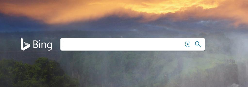 screenshot of bing start page