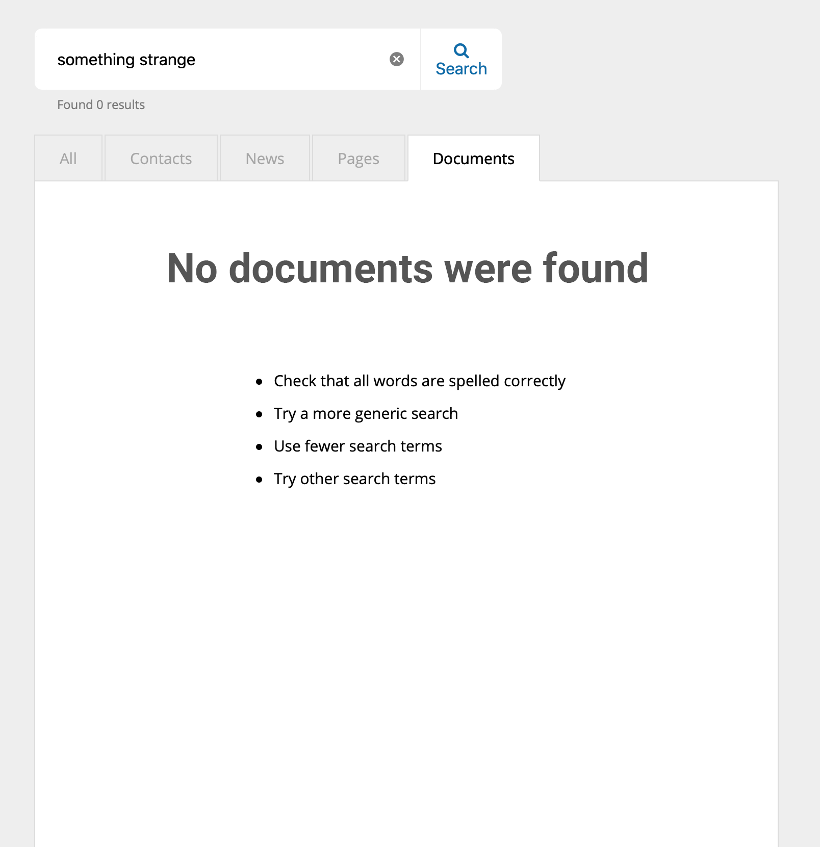 zero results page clearly explains what has happened
